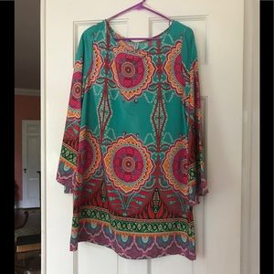Auditions Turquoise and Pink Bell Sleeve Dress L